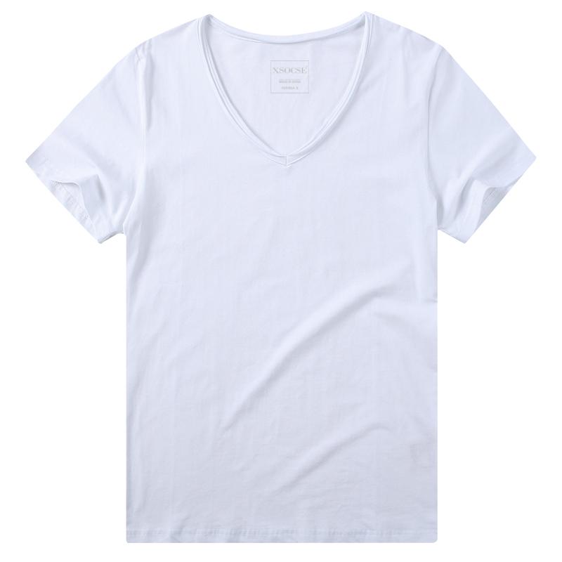 V领短袖T恤加大加肥男女鸡心领简约青年情侣学生宽松大码半袖胖子