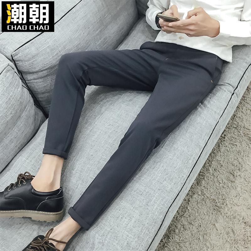 九分裤裤子西裤薄款潮修身休闲黑色夏季英伦商务男士小脚
