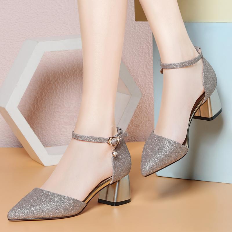 女鞋中跟女夏韩版凉鞋尖头单鞋包头性感高跟鞋一字扣