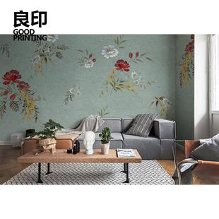 良印美式碎花复古婚房墙纸新中式田园壁纸卧室电视背景墙定制壁画图片