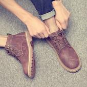 冬季加绒工装鞋男马丁靴男鞋潮鞋英伦男士雪地短靴沙漠保暖棉靴子