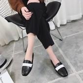促销女鞋春季新款2017韩版PU拼色休闲鞋子女平底百搭舒适方头女单