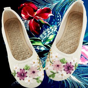 锦绣春夏新款女鞋老北京布鞋民族风绣花鞋子平底妈妈亚麻大码单鞋
