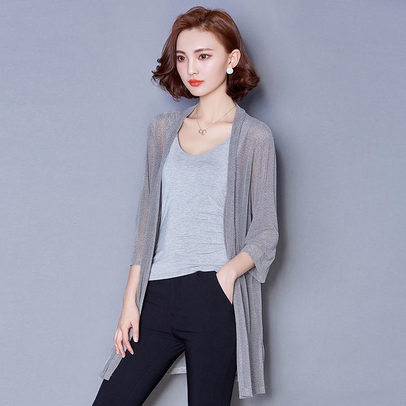 外套衣女薄七分袖長款開衫防曬大碼網紗披肩女裝夏季空調寬松
