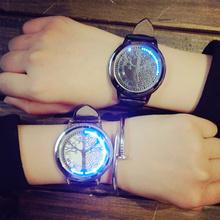 创意触控LED发光夜光简约韩版智能皮带学生男女情侣一对电子手表