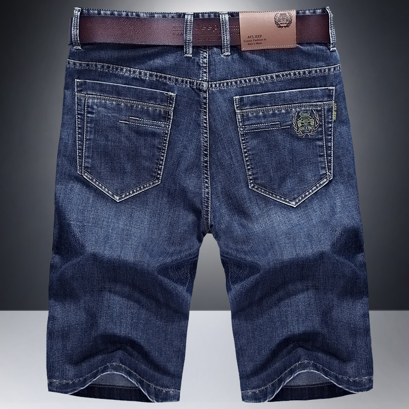 男装牛仔中裤薄款直筒五分短裤男生男士宽松分裤潮 AFS