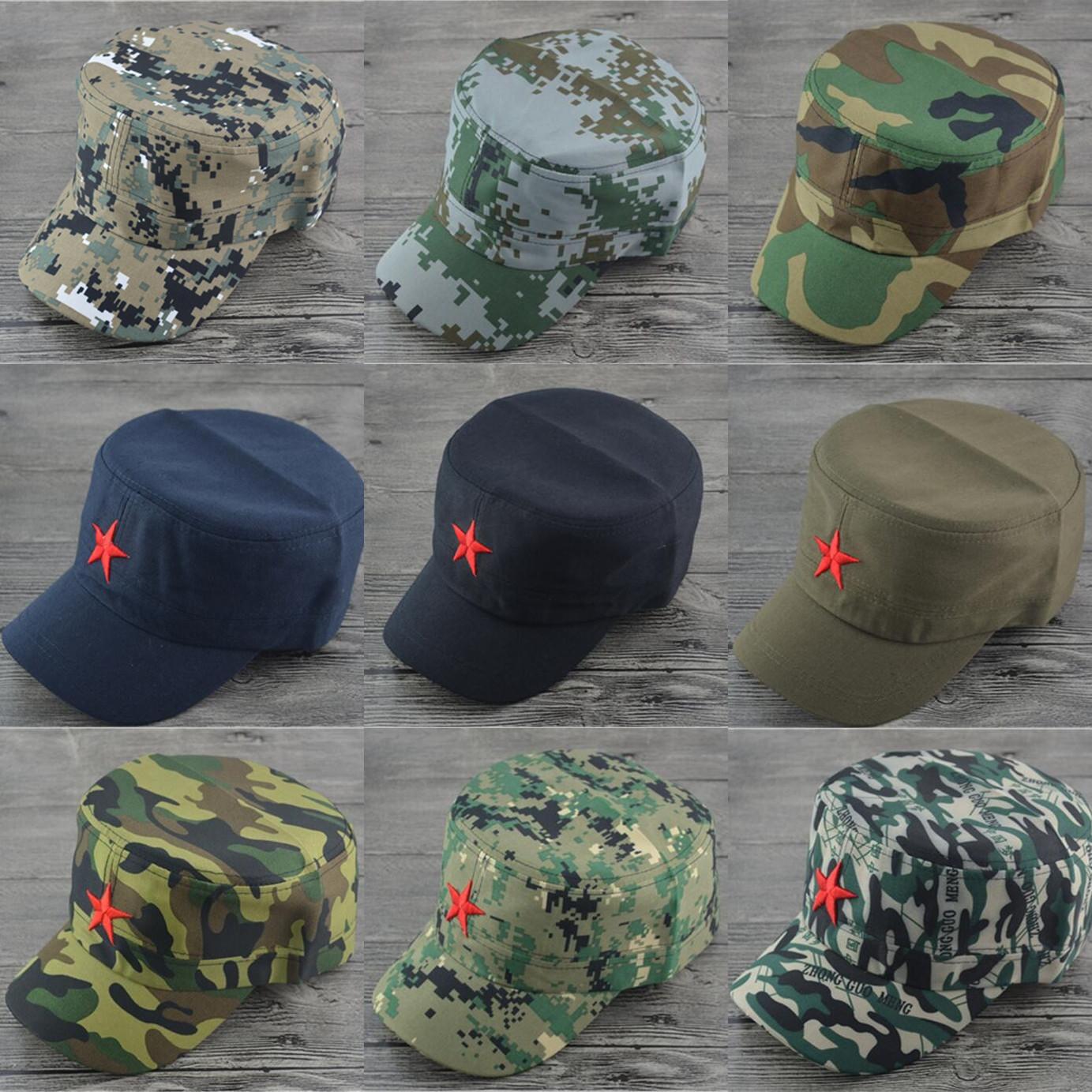 包邮春夏季男士户外迷彩红军帽五星雷锋为人民服务五角星平顶军帽