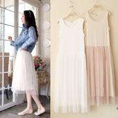 春夏韩版莫代尔宽松大码网纱蕾丝吊带背心打底裙波西米亚长连衣裙