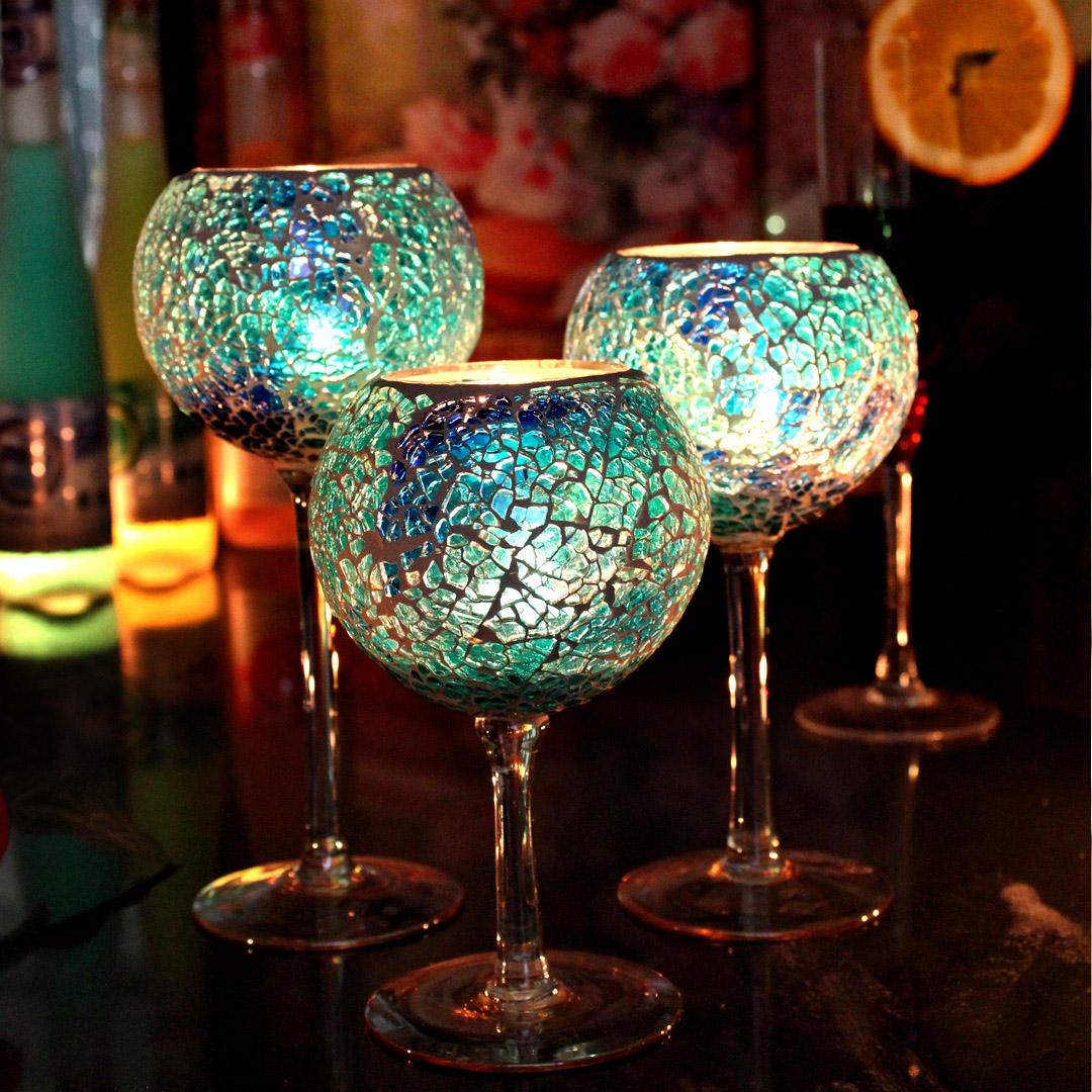 欧式婚庆高脚马赛克玻璃蜡烛台烛杯摆件烛光晚餐家居