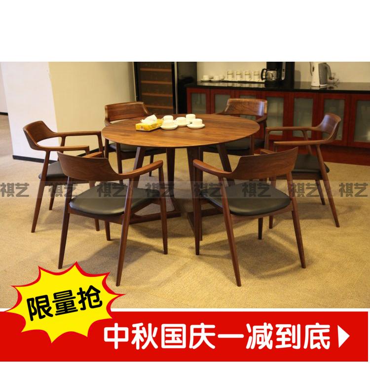 北欧宜家实木餐桌 饭桌简约现代小户型圆形餐桌椅