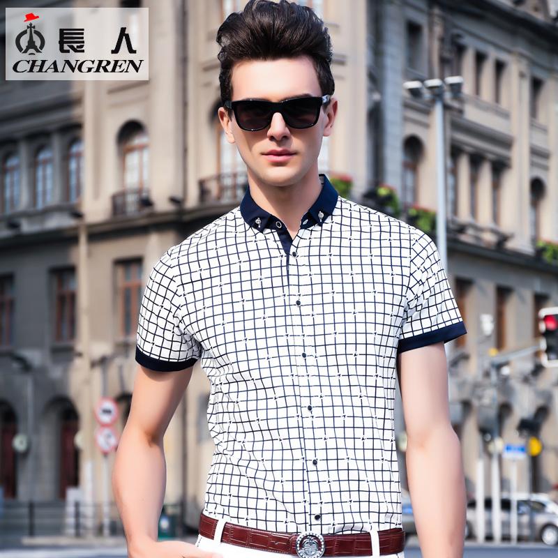 长人2016短袖衬衣修身男士日常青春活力男装格子印花韩版衬衫