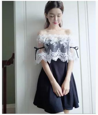 一字领露肩抹胸连衣裙女性感 夏季韩国名媛宴会礼服修身短裙a字裙