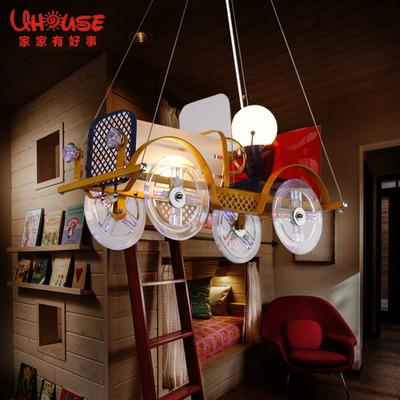 创意卡通汽车吊灯 LED可爱儿童房间童装店灯饰 男孩女孩卧室灯具