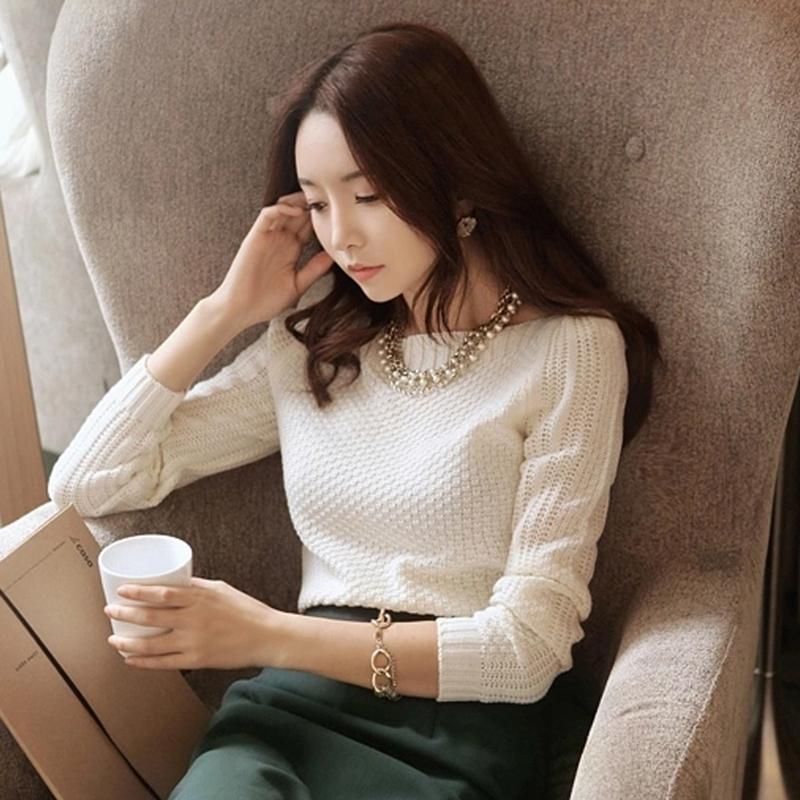 宽松长袖毛衣女2015秋冬新款圆领套头针织衫短款百搭打底衫薄外套