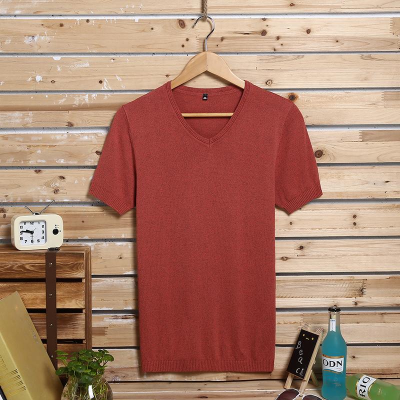 夏季薄款短袖T恤男V领针织衫男装青年韩版修身大码半袖纯棉打底衫