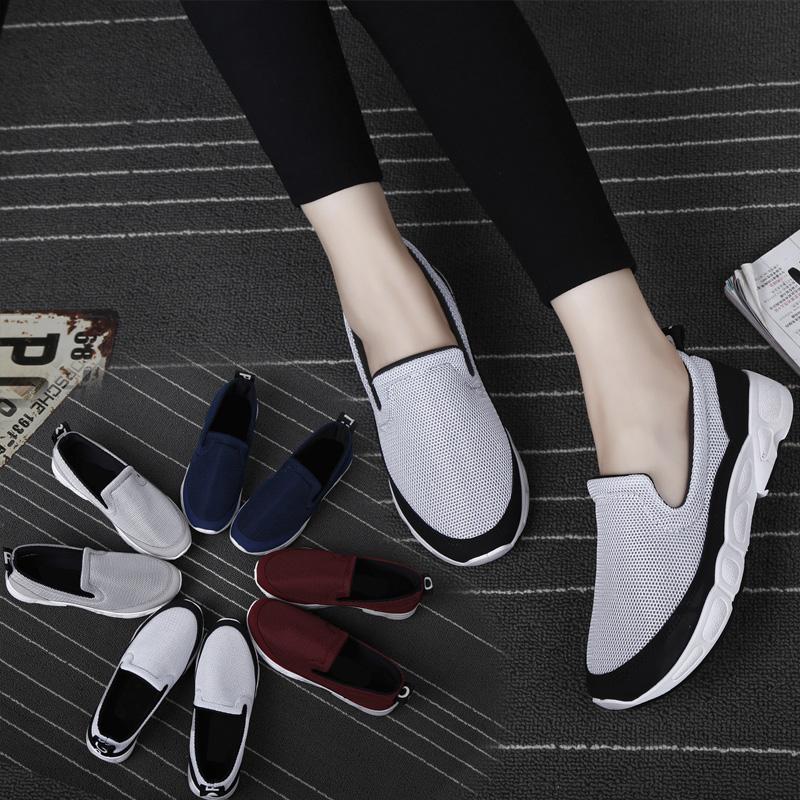 夏季腳蹬運動鞋透氣休閑學生跑步女韓版網面樂福鞋