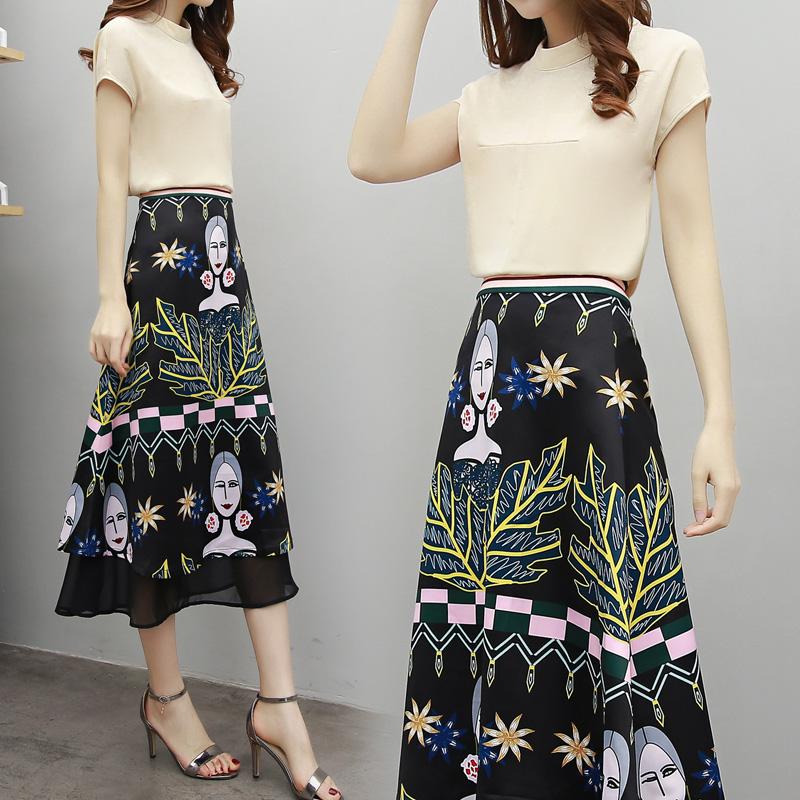 連衣裙半身韓版春夏高腰長裙時尚雪紡中套裝長款兩件套