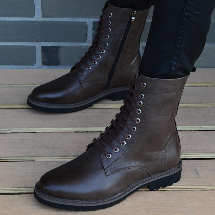 男士尖头皮靴英伦马丁靴男短靴军靴工装靴韩版高帮皮鞋男靴子增高