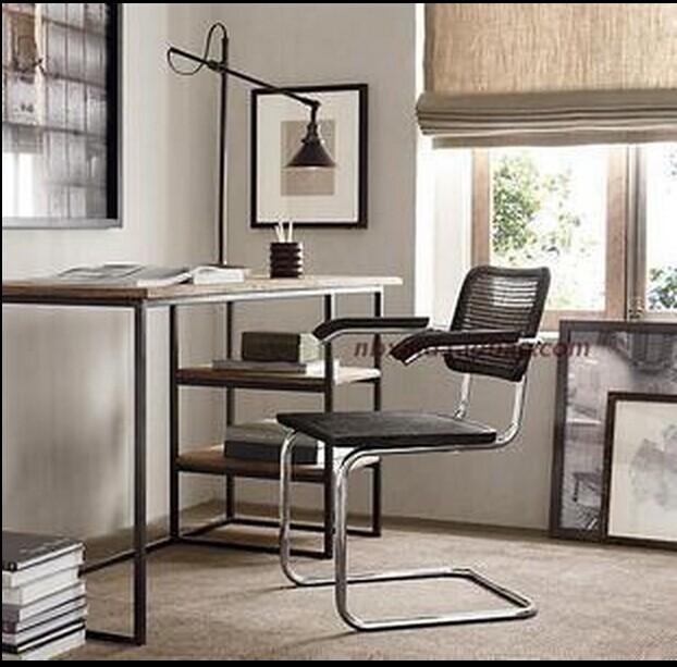 古典美式乡村复古书桌 铁艺办公桌 电脑桌 写字桌 怀旧家具书桌