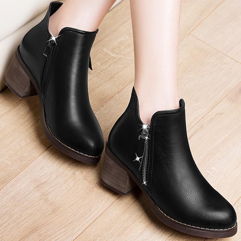 2016冬季高跟粗跟马丁靴裸靴磨砂短靴新款女鞋春秋单靴靴子英伦风
