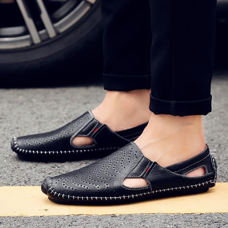 洞洞鞋 男士皮鞋休閑沙灘鞋涼鞋拖鞋包頭 真皮涼鞋