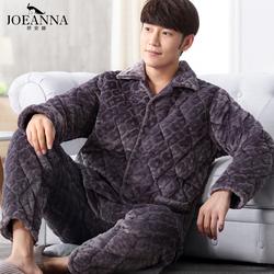 冬季中老年人珊瑚绒夹棉睡衣男法兰绒加厚加绒爸爸套装中年家居服