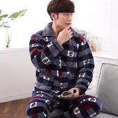 冬天棉袄加大码 家居服套装 长袖 冬季三层加厚珊瑚绒夹棉睡衣男款