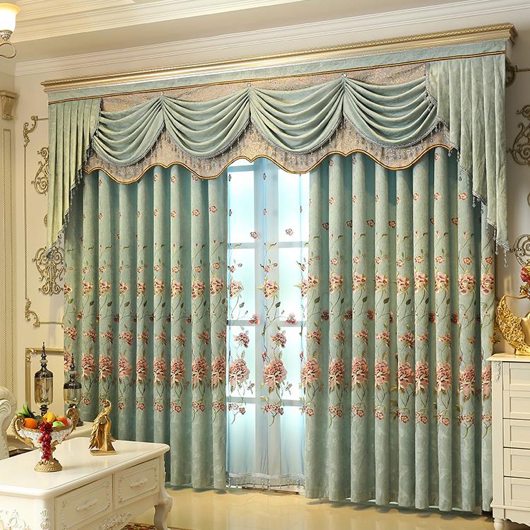 定制窗帘布豪华雪尼尔绣花欧式客厅卧室窗纱遮光落地