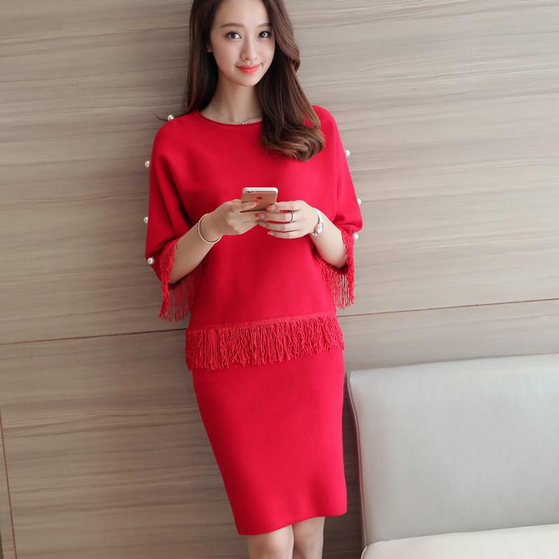 包臀裙套装女毛衣两件套春冬季外套女装秋装2016新款潮韩版针织衫