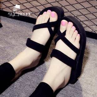厚底拖鞋女夏韩版外穿高跟凉鞋时尚坡跟平底防滑沙滩鞋凉拖人字拖