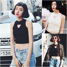 纯色吊带小爱心圆领镂空无袖 背心女学生衣服 修身 韩版 短款 女装 新款
