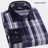 优鲨夏装男士格子长袖衬衫男式纯棉休闲衬衣薄款男士全棉衬衫