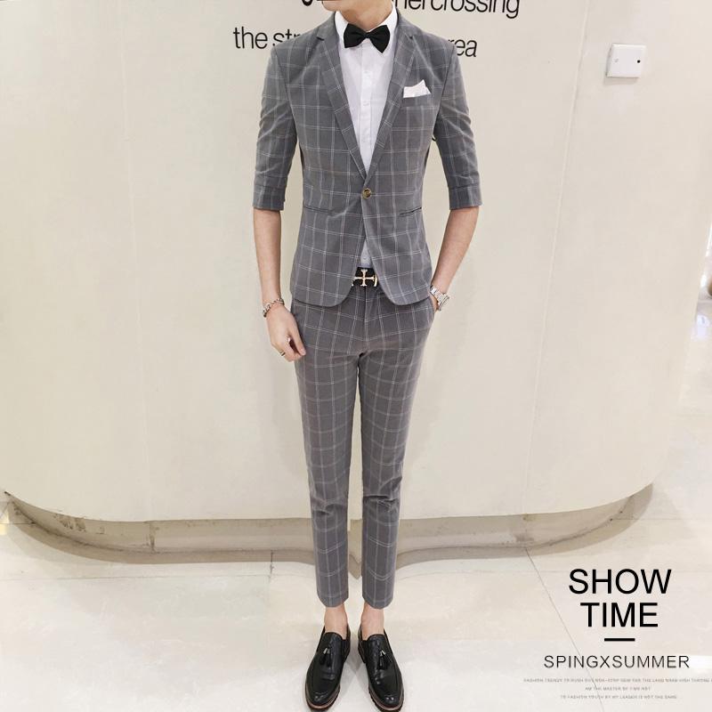 基础大众套装修身男装后中开衩适合平驳领韩版常规西服套装