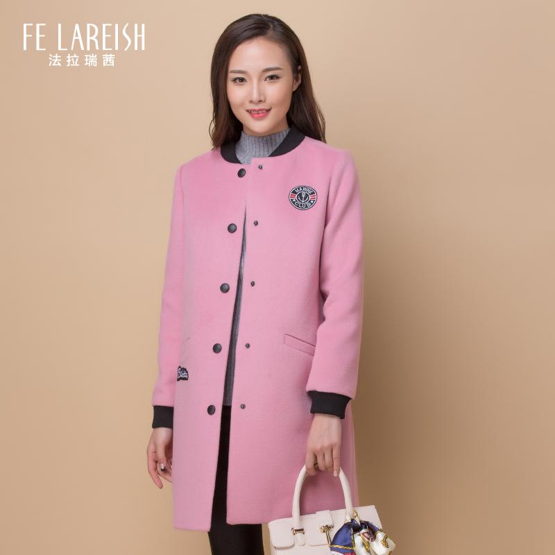 冬装外套女韩版呢子大衣女秋冬季时尚女装粉色羊毛毛呢外套中长款