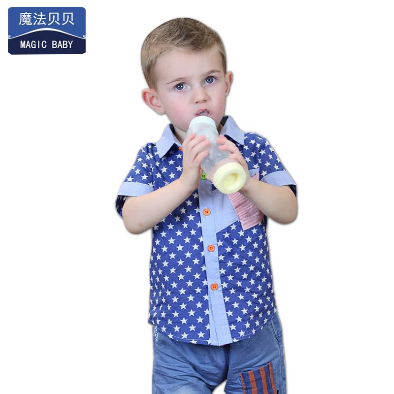 衬衫衬衣夏装短袖宝宝婴儿儿童童装男童纯棉