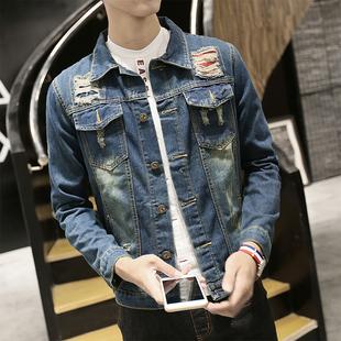 秋季加绒牛仔外套男士韩版修身型加厚潮流青少年冬款上衣褂夹克男