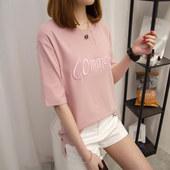 短袖t恤女夏装韩版宽松百搭中长款刺绣字母纯色打底衫体恤衫半袖