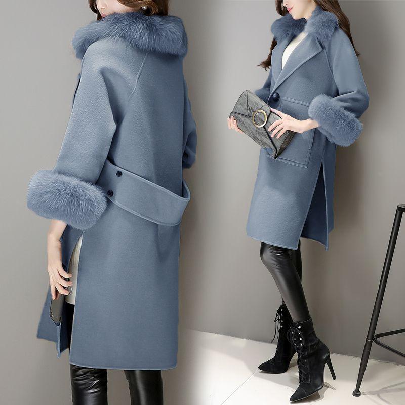 冬装女装2016新款潮韩国中长款大毛领毛呢外套女茧型秋冬呢子大衣