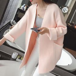 春秋外套女装新款针织衫长袖韩版宽松中长款针织开衫女毛衣外套潮