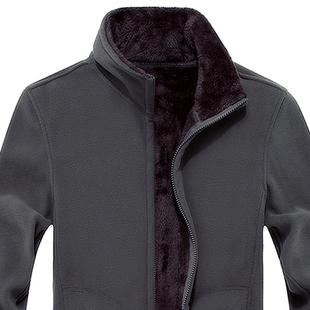 男士抓绒卫衣 秋冬季新款摇粒加绒开衫宽松上衣 男装大码休闲外套