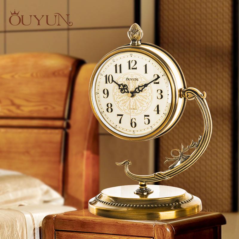 钟表座钟客厅欧式金属静音卧室创意台钟现代铁艺时钟