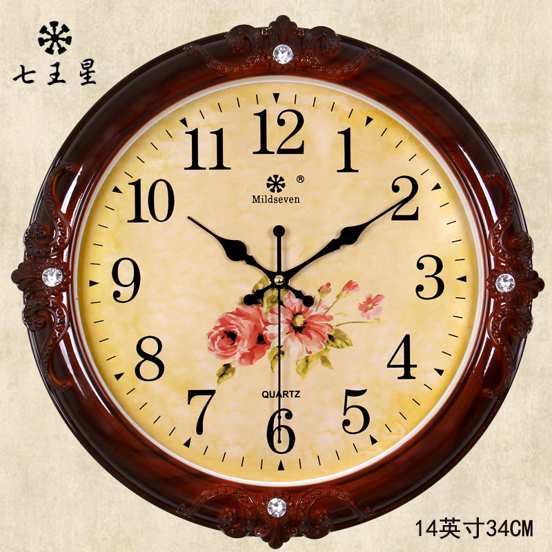 七王星挂钟客厅欧式时尚圆形钟表创意电子石英钟家庭静音时钟挂表