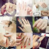 韩国饰品时尚珍珠气质百搭三件套戒指日韩版潮人开口戒关节指环女