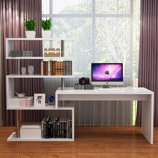 台式电脑桌转角书桌组合电脑桌带书架组合转角办公桌简约现代