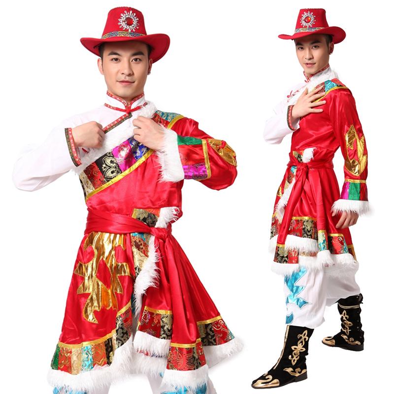 藏族舞蹈服装演出服男 少数民族舞蹈服装长衫 藏袍 斜肩藏族服装