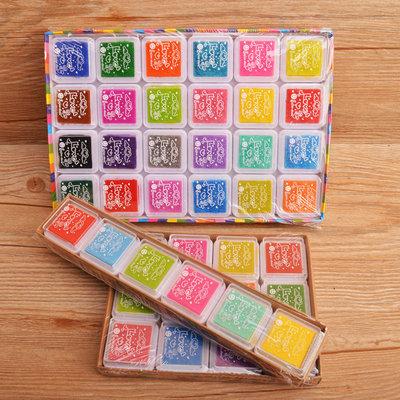 包邮彩色印泥印台12色24色印章用儿童手指画指印画颜色指纹画颜料