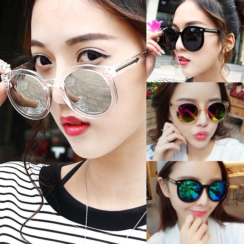 墨镜女潮明星款眼镜2017新款圆形彩色太阳镜女士圆脸韩国复古眼睛