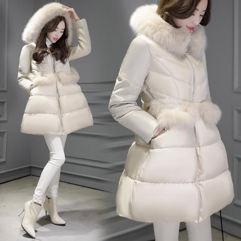 大毛长款外套气质羽绒服时尚女中加厚修身清仓冬季