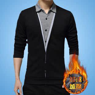 秋季男士长袖T恤男装加绒V领衣服外套冬季男毛衣上衣秋衣男打底衫