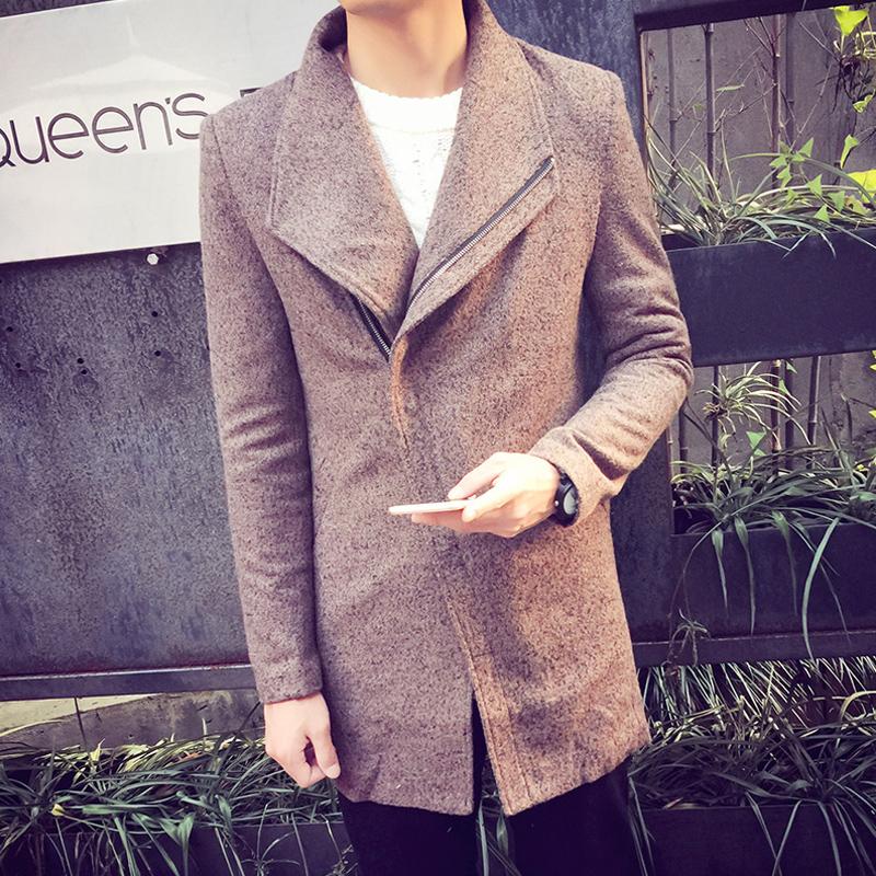 秋冬男装中长款纯色休闲青年呢料修身外套韩版时尚男士毛呢大衣
